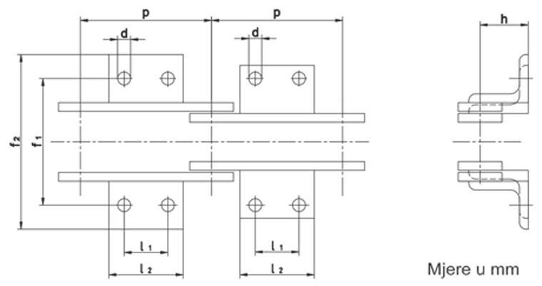 Nosive spojnice prijenosnih lanaca DIN 8165