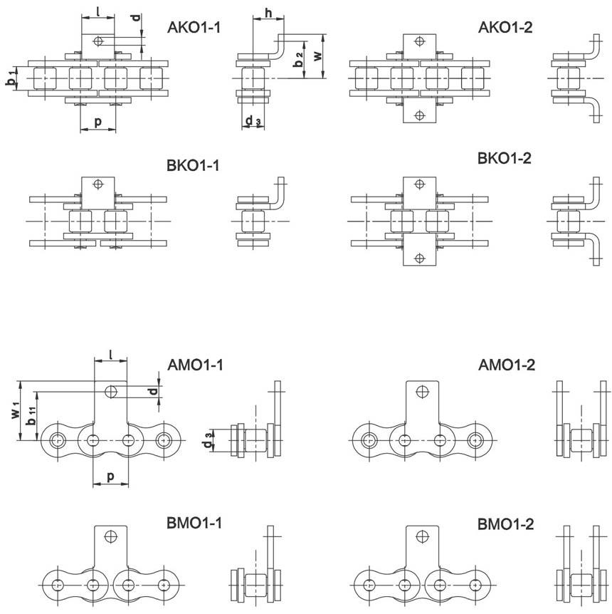 Nosive spojnice za valjčaste lance po DIN 8187 i 8181