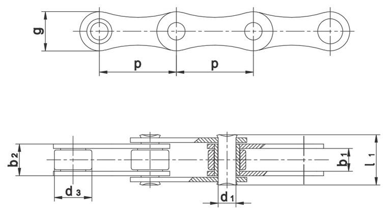 Valjčasti lanci za poljoprivredne strojeve DIN 8189 - ISO 487