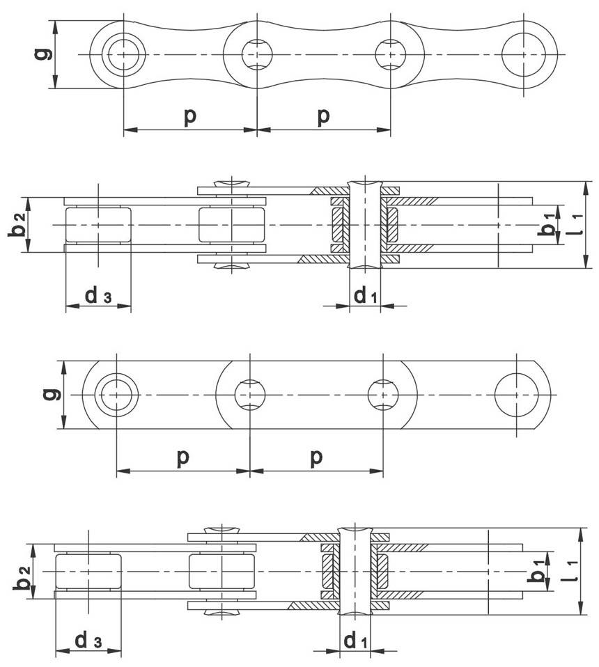 Valjčasti lanci za poljoprivredne strojeve po tvorničkoj normi