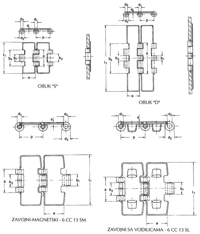 Šarnirana lančana traka DIN 8153-ISO 4348