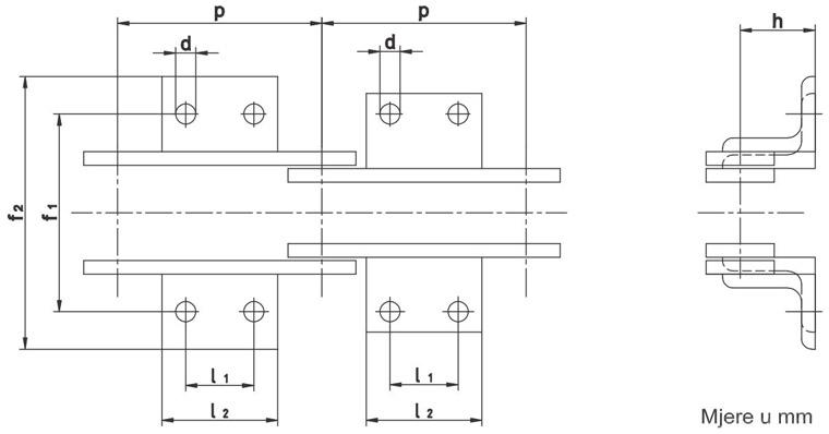 Nosive spojnice prijenosnih lanaca DIN 8167